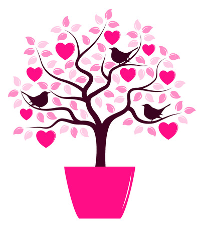 árboles con pajaros: vector heart tree with birds in pot isolated on white background Vectores