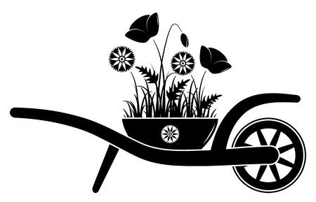corn poppy: vector wheel barrow with corn poppies and cornflowers in pot isolated on white background Illustration
