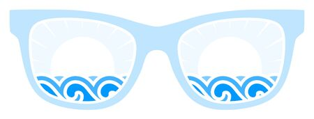 sunglasses isolated: vector waves and sun in sunglasses isolated on white background Illustration