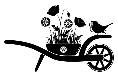 vector wheel barrow with corn poppies and cornflowers in pot and bird with worm isolated on white background