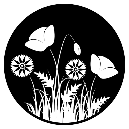 tuft: vector corn poppies and cornflowers in grass isolated on black round