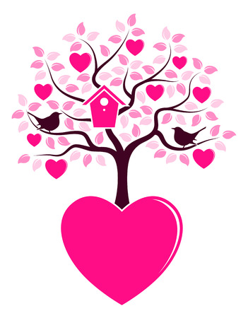 bird box: vector heart tree with nesting bird box and couple of birds growing from heart isolated on white background