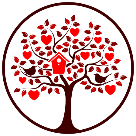 bird box: vector heart tree with nesting bird box and couple of birds in round isolated on white background