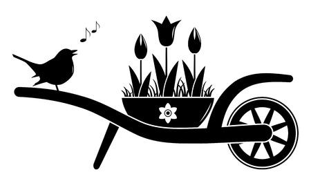 vector wheel barrow and tulips in pot and singing bird