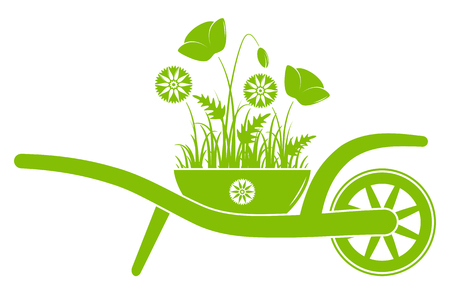 vector wheel barrow with corn poppies and cornflowers in pot isolated on white background Illustration