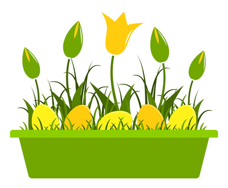 Vector tulips and easter eggs in planter isolated on white background Illustration