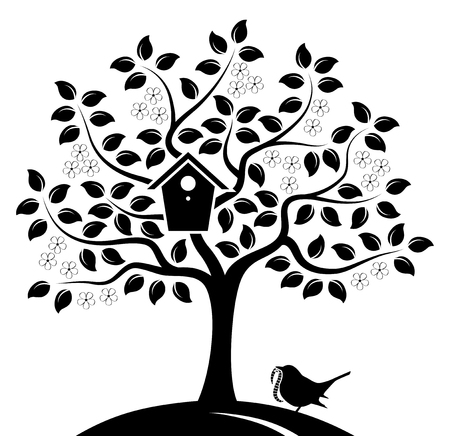 vector flowering tree with nesting bird box and bird bringing worm isolated on white background Illustration
