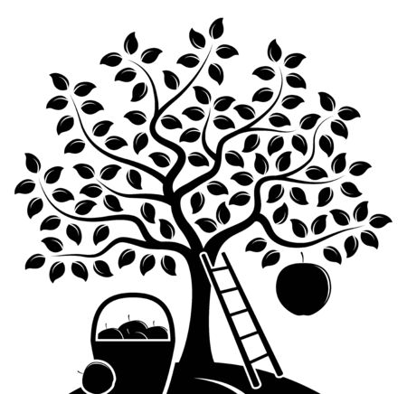 vector appelboom met een grote appel, ladder en mand van appels geïsoleerd op een witte achtergrond Stock Illustratie