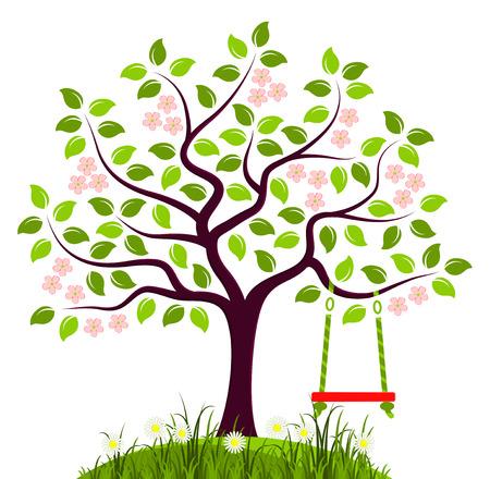 vector bloeiende boom met schommel op een witte achtergrond Stock Illustratie
