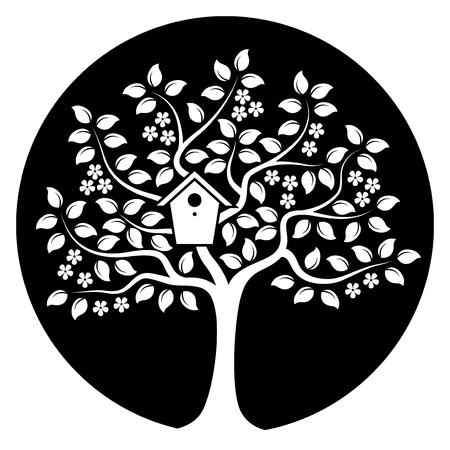 cultivate: vector flowering tree with nesting bird box isolated on black round Illustration