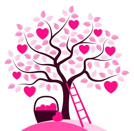 Vektorherzbaum, Korb der Herzen und der Leiter lokalisiert auf weißem Hintergrund