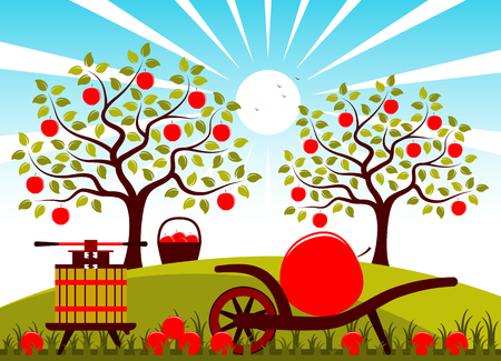 huge tree: vector fruit press and hand barrow with one big apple in apple orchard