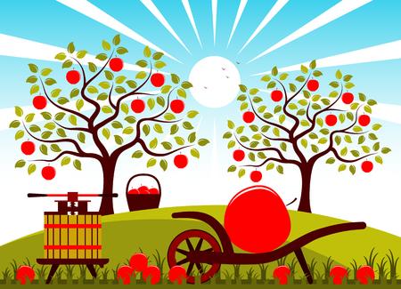 wektor prasy owoców i barrow ręcznie z jednym dużym jabłkiem w sadzie sadowniczym