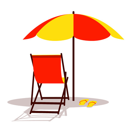 Deck chair and flip flops under beach umbrella isolated on white background