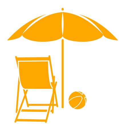 Liegestuhl mit sonnenschirm clipart  Vektor Liegestuhl Und Strand Ball Unter Sonnenschirm Isoliert Auf ...