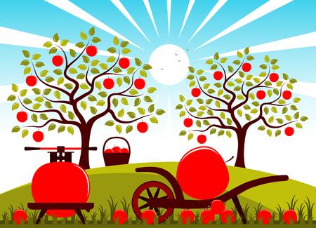 carretilla: Vector prensa de frutas y carretillas con una manzana grande en un huerto de manzanas