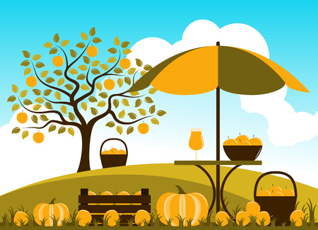 wood crate: vector wooden crate of apples, pumpkins and table with apple drink in autumn garden
