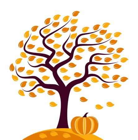 park: Autumn tree in the wind and pumpkin isolated on white background