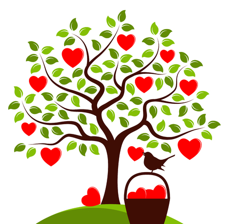 vector heart tree and basket of hearts with bird carrying heart isolated on white background