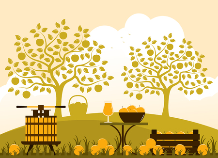 Vector fruit press, wooden crate of apples and table with apple drink in apple orchard