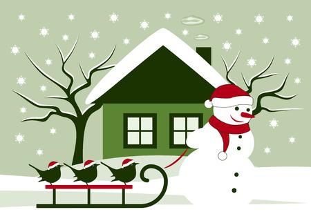 winter garden: Vector snowman pulling sledge with birds in snowy landscape Illustration