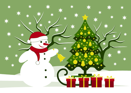 Snowman and Christmas tree icon.