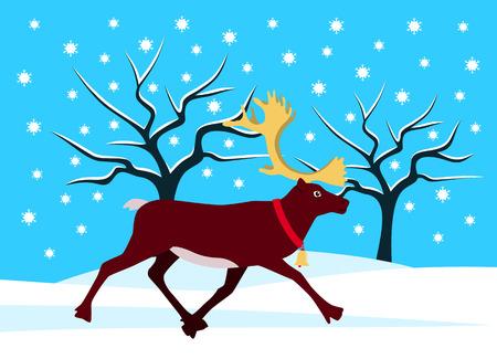 vector running reindeer with golden horns in snowy landscape Stock Vector - 88831422