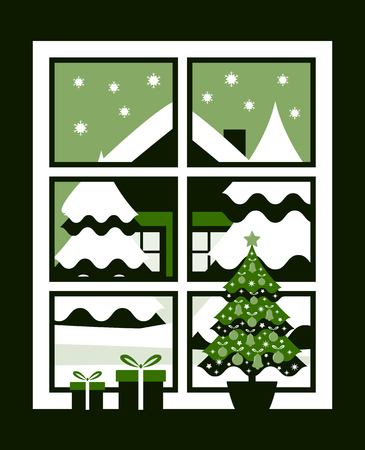 vector christmas tree in pot and gifts in the window and snowy landscape outside the window