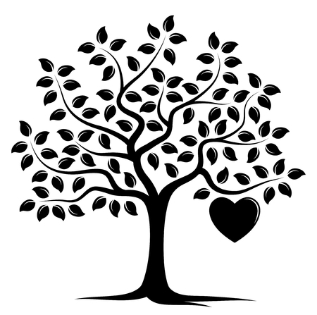 Vector tree with one big heart, isolated on white background.