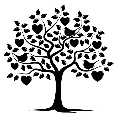 vector heart tree and birds isolated on white background