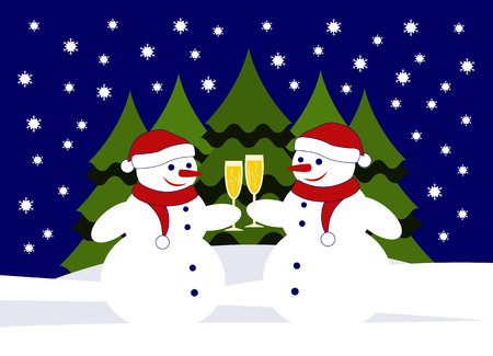 Vector pair of snowmen with glasses of champagne in snowy landscape.