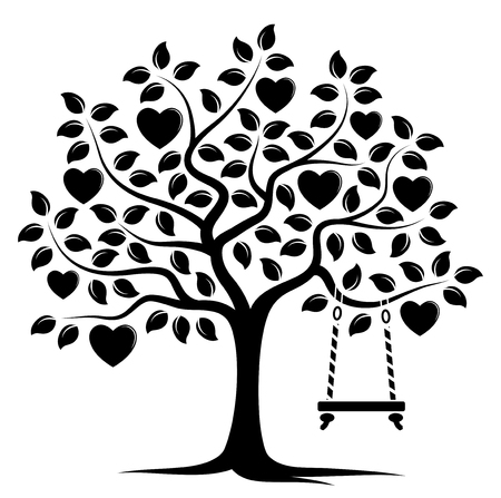 Vector heart tree with swing isolated on white background
