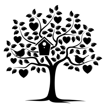 Heart tree with nesting bird box and couple of birds isolated on white background. Illustration