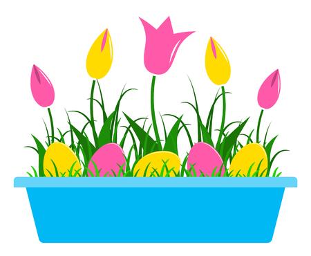 tulipes de vecteur et des oeufs de pâques dans planteur isolé sur fond blanc