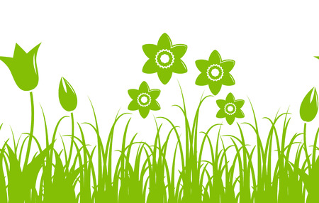 seamless vector border with daffodils and tulips in grass isolated on white background 矢量图像