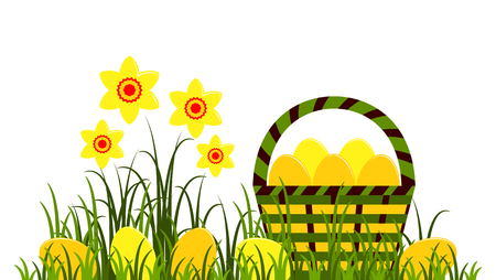 A vector clump of daffodils and Easter eggs in basket isolated on white background