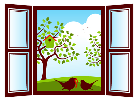 Vector mother bird and baby bird in the window and trees with nesting bird box outside the window 向量圖像
