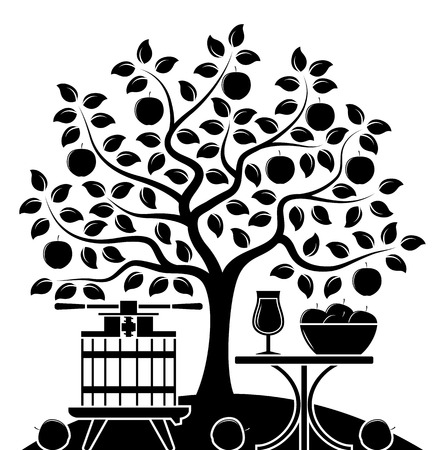 vector apple tree, fruit press and table with apple drink isolated on white background  イラスト・ベクター素材
