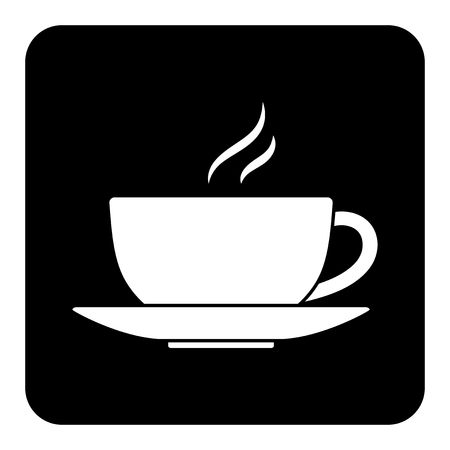 A vector cup of coffee or tea isolated on black background
