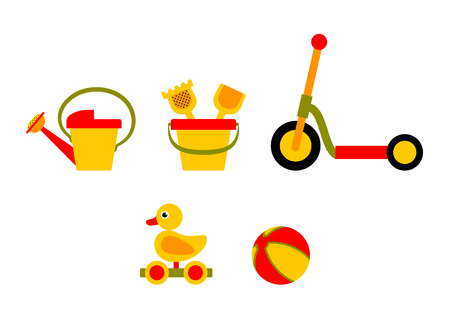 vector collection of toys isolated on white background Illustration