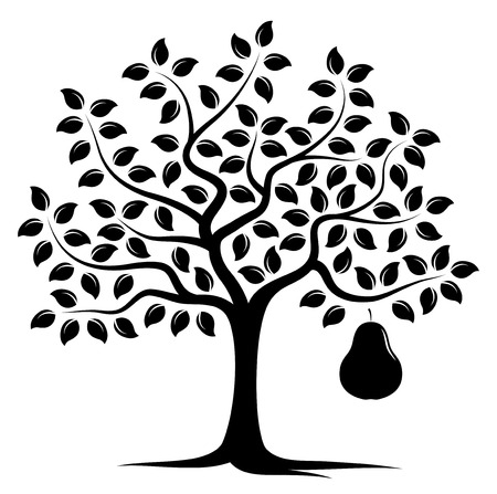 Vektorbirnenbaum mit einer großen Birne lokalisiert auf weißem Hintergrund