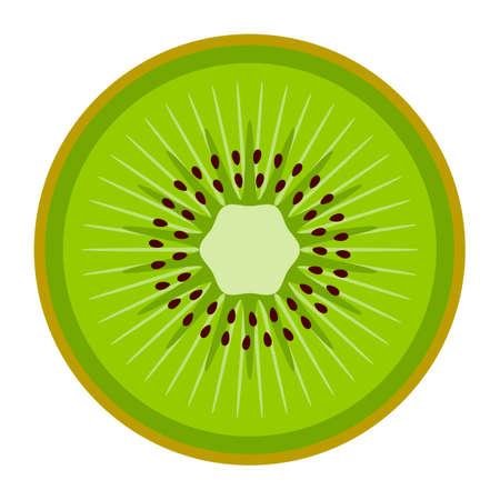 vector kiwi slice isolated on white background Illustration