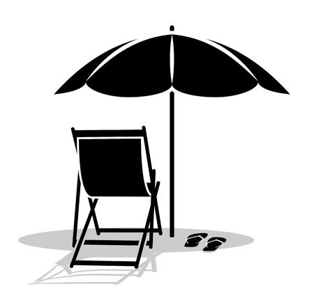 Vektor Liegestuhl und Flip Flops unter Sonnenschirm isoliert auf weißem Hintergrund