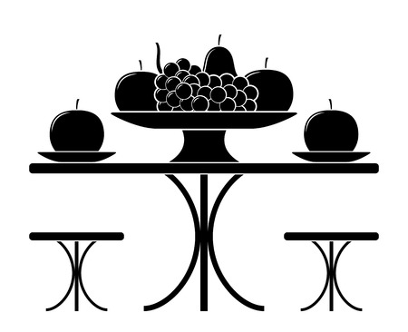 vector table with fruit bowl isolated on white background  イラスト・ベクター素材