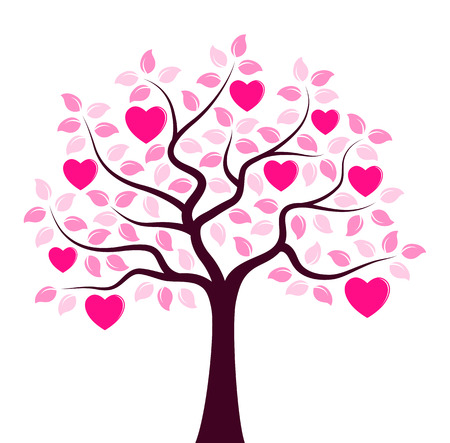 Vector heart tree isolated on white background