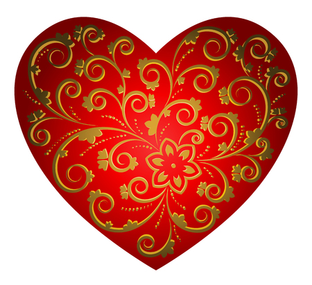 Heart with floral pattern isolated on white background