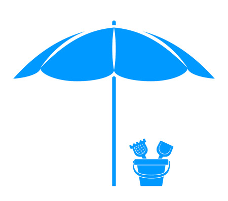 vector sand bucket under beach umbrella isolated on white background