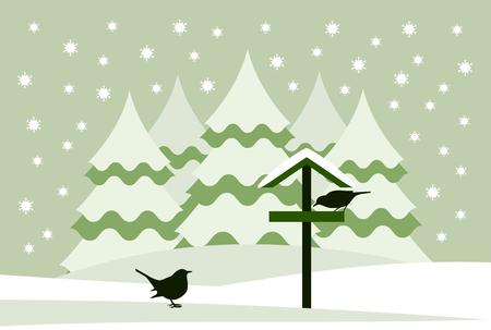 vector snowy bird table with birds in snowy landscape