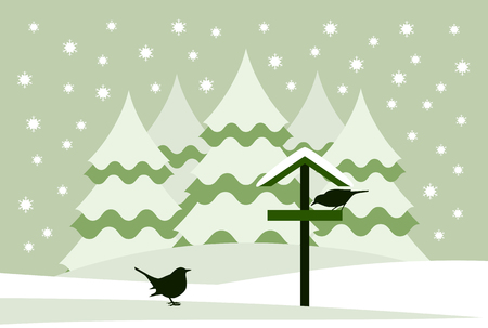 vector snowy bird table with birds in snowy landscape