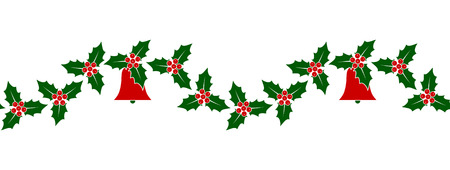vector seamless christmas holly border isolated on white background